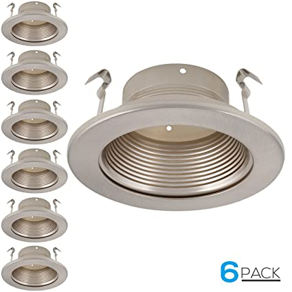 6 pack 4 inch recessed can light trim with satin nickel metal step baffle for