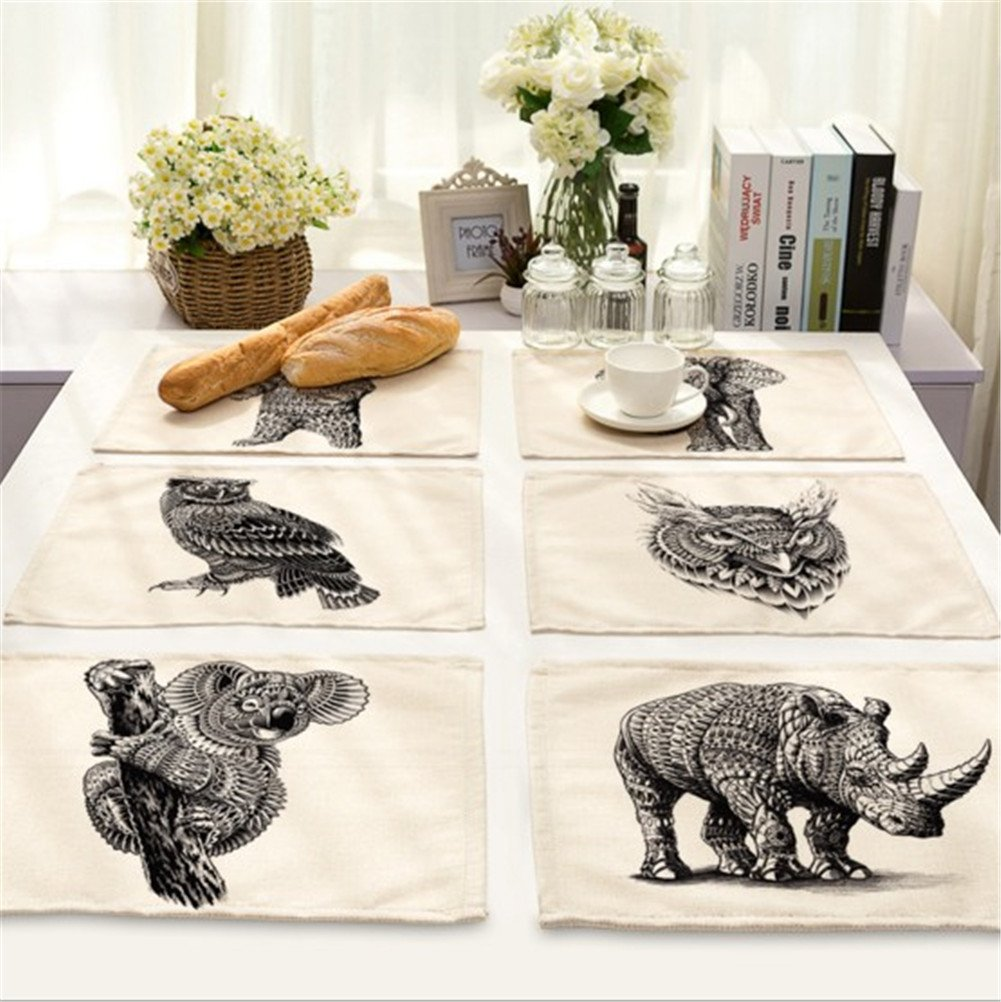 ZOPPO 6Pcs Cotton Linen Placemats Trendy Style Heat Insulation Washable Table Mats for Kitchen and Dining Room Enlarged 16.5'' x 12.5'' (animal)