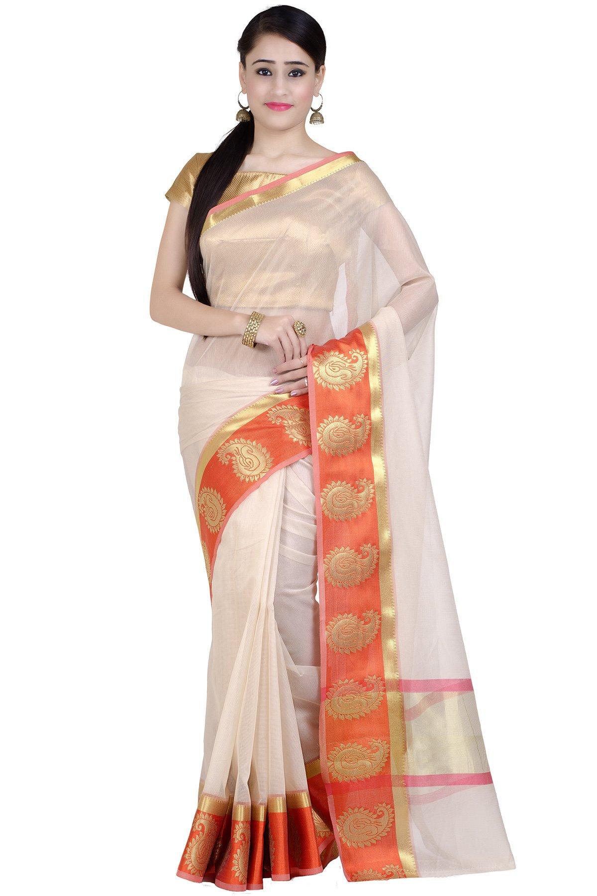 Chandrakala Women's Orange Supernet Cotton Banarasi Saree(1276ORA)