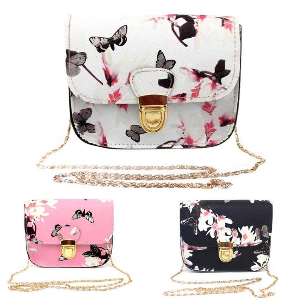 Outsta Butterfly Flower Printing Handbag,Women Shoulder Bag Tote Messenger Bag Phone Bag Coin Bag Travel Backpack Bucket Bag Classic Basic Casual Daypack Travel (White) by Outsta (Image #5)