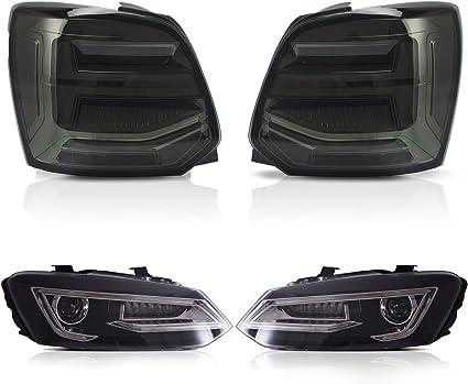 USEKA Faro negro y luz trasera ahumada para Polo MK5 6R 6C TDI TSI ...