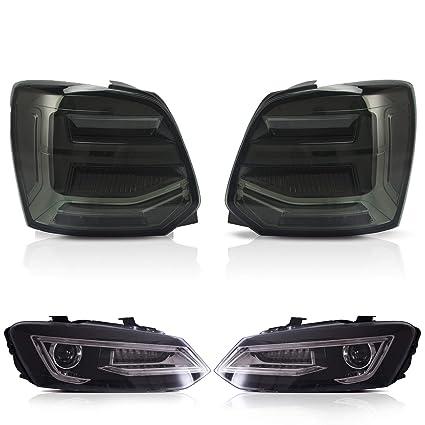 USEKA Faro delantero negro y luz trasera ahumada para Polo MK5 6R ...