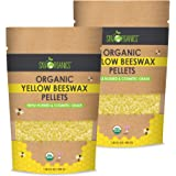 Sky Organics Organic Yellow Beeswax Pellets 100% Pure USDA Organic Bees Wax Pesticide-Free Triple Filtered Easy Melt Beeswax Pastilles for DIY Candles Skin Care Lip Balm, 1lb (Pack of 2)
