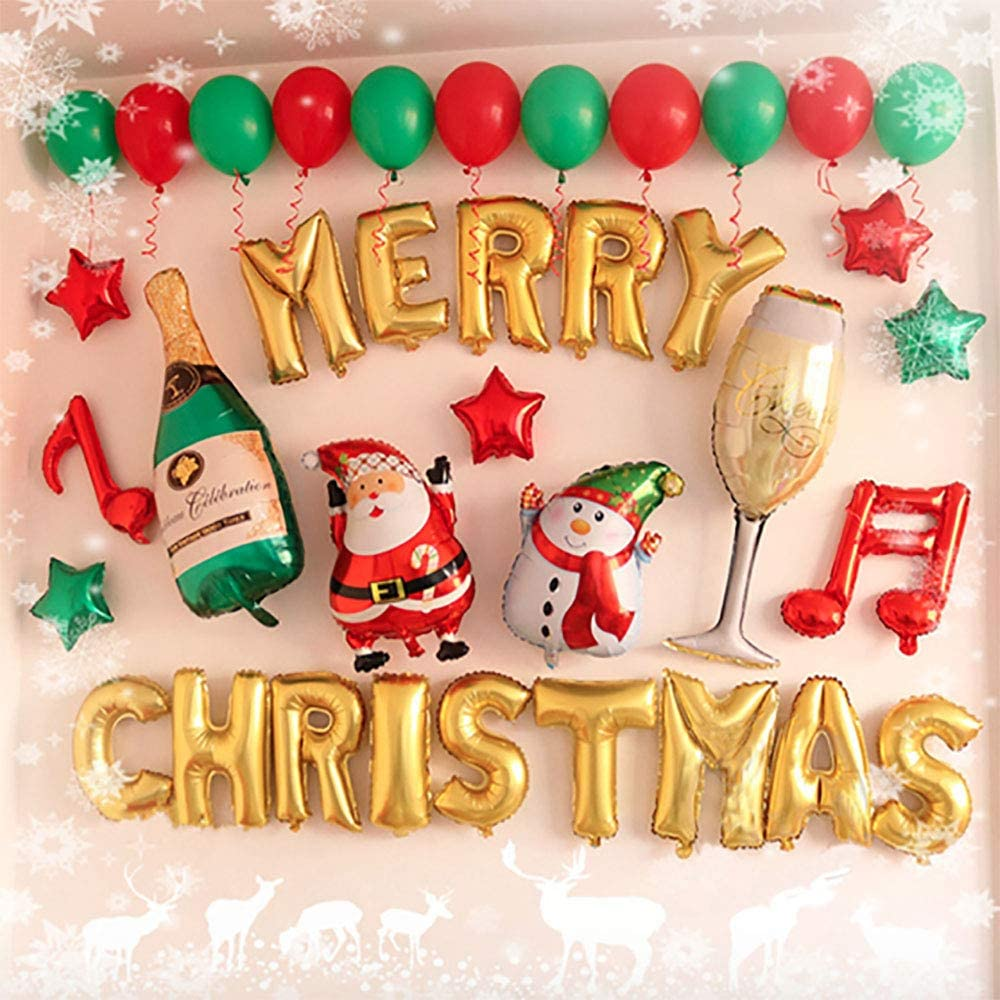 Gold The Fellie Merry Christmas Balloon Banner Letters Alphabet Balloons Banner For Christmas Party Decoration