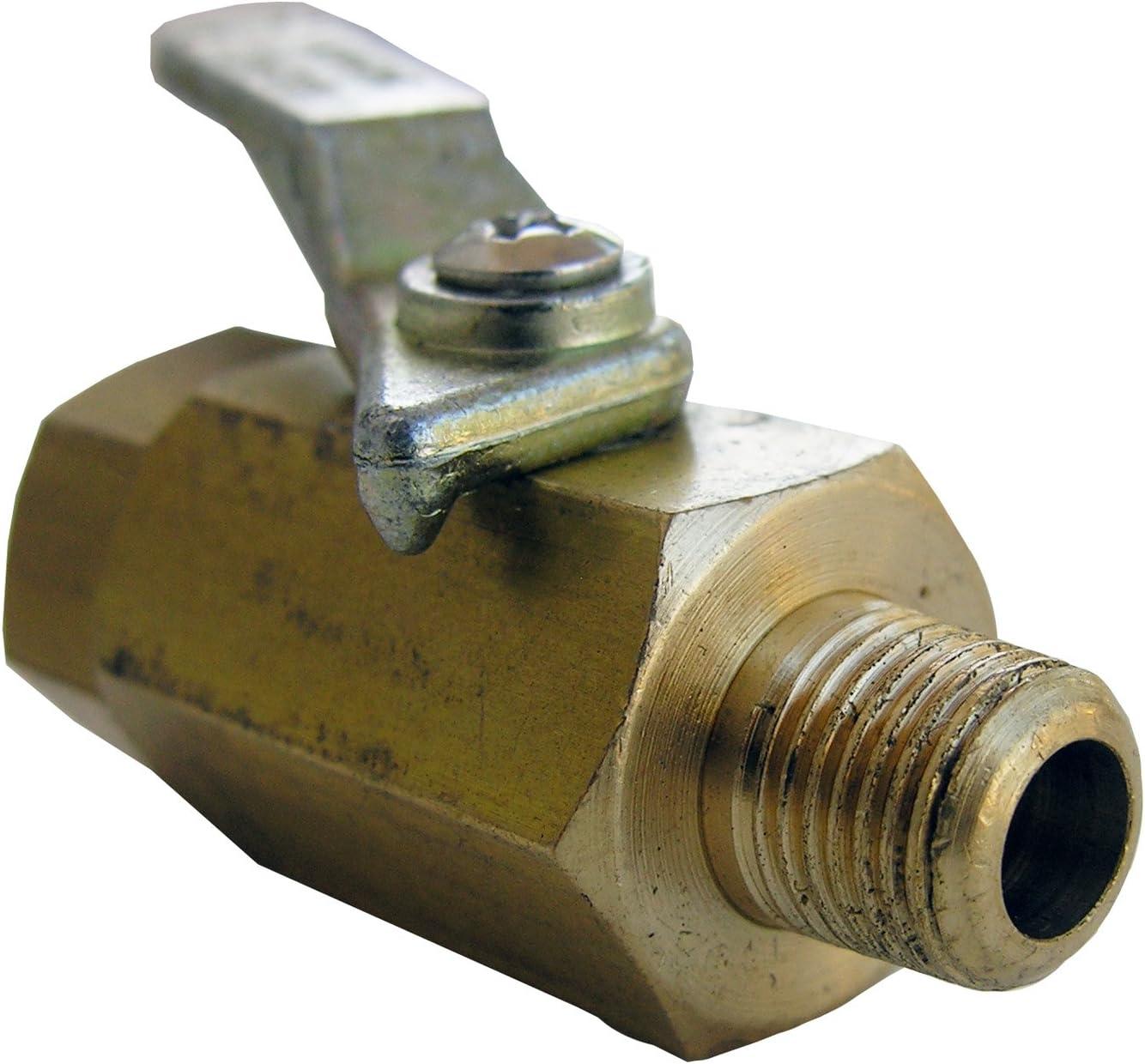 LASCO 17-0901 1/8-Inch Female Pipe Thread by 1/8-Inch Male Pipe Thread Brass Ball Valve