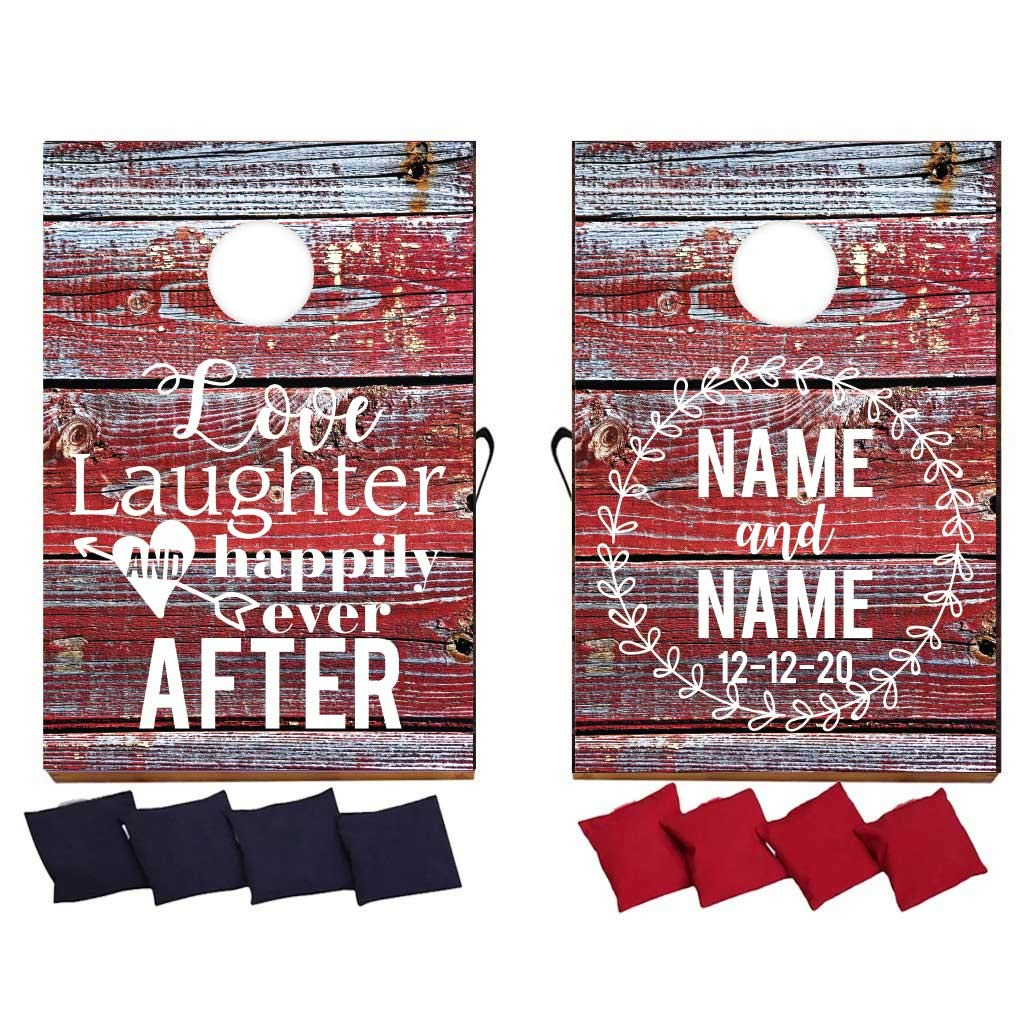 VictoryStore Custom Wedding Bag Toss Game - Custom Wedding Cornhole - Love Laughter and Happily Ever After by VictoryStore