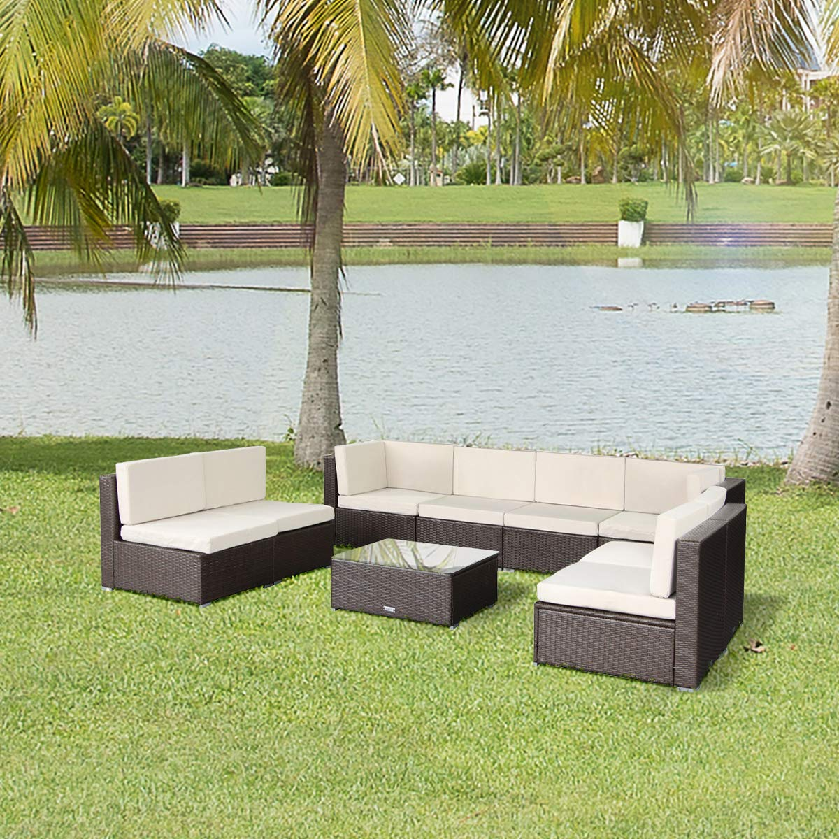U-MAX Patio PE Rattan Wicker Sofa Set Outdoor Sectional Furniture Chair Set with Cushions and Tea Table (9 Pieces, Brown)