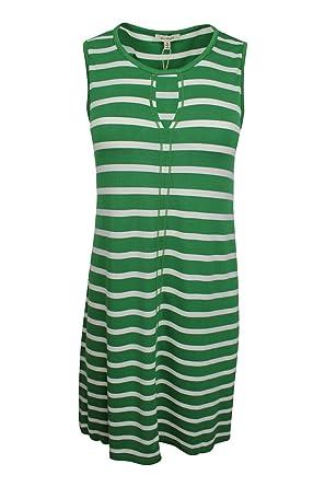 d7582069ad8 Max Studio Women s Green White Striped Casual Sporty Jersey Shift Dress