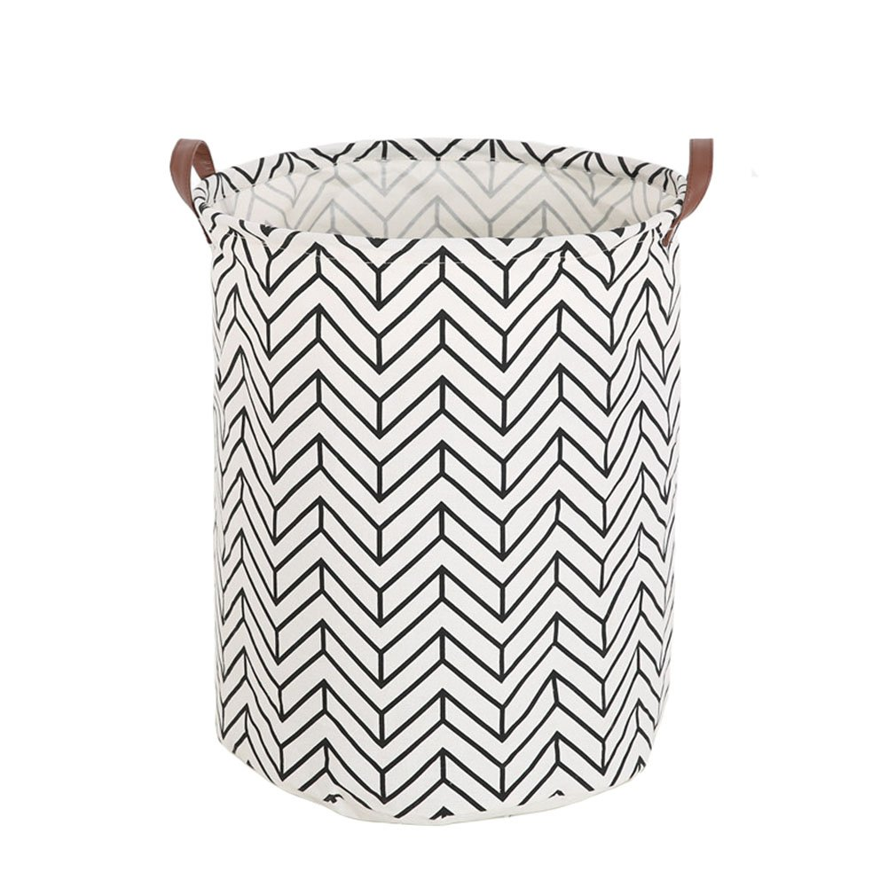 Super iMan Black& White Theme Cotton Storage Basket with Handles,Laundry Basket,Toys Organizer Basket (Batman, Round)