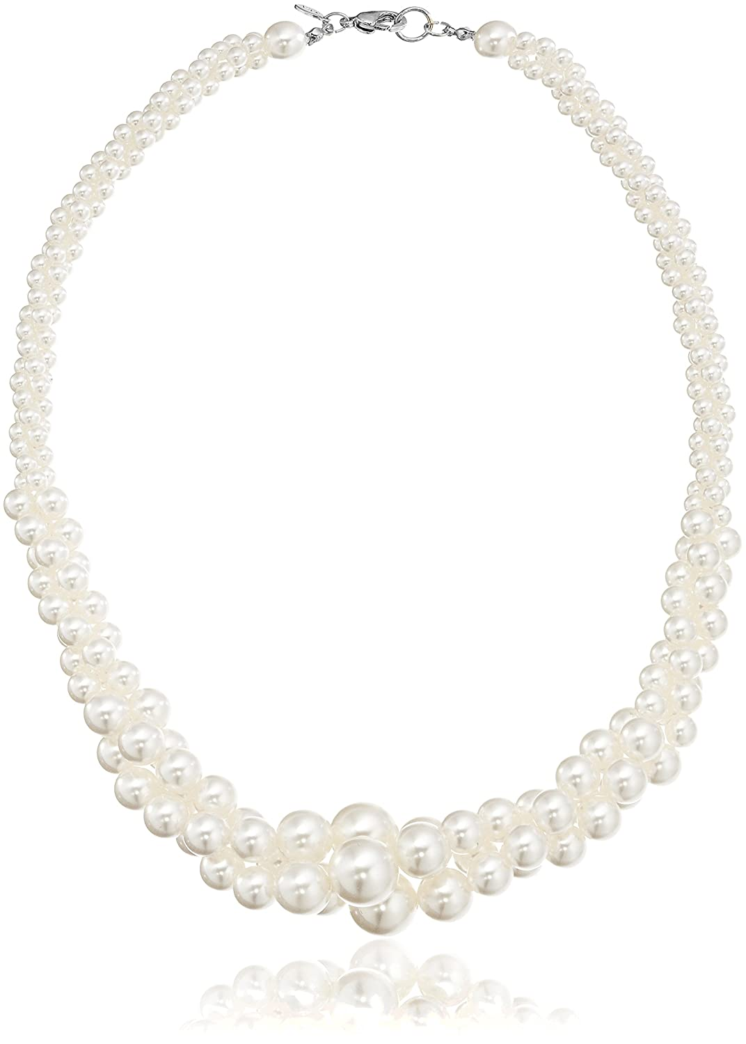 Colored Simulated Three Strand Twisted Pearl Necklace, 18 18 + 2 Amazon Collection 20040717