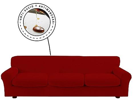 Banzaii Funda Sofa Elastica con Funda Asiento Impermeable – Cubre Sofa con Cojin – Protector Sofa con Asiento Separado - Poliéster (VR.13 Burdeos, ...