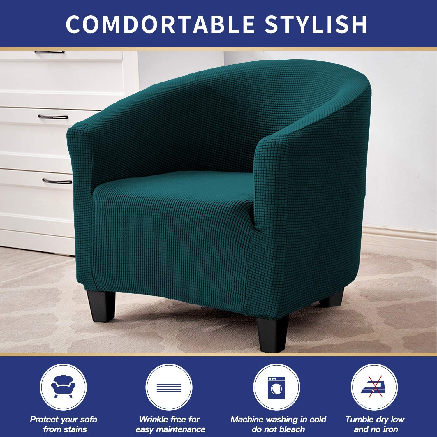 Club Chair,Dull Green ZC MALL Club Chair Slipcover,Stretch Armchair Cover,Sofa Cover Furniture Protector for Living Room Arm Chair Cover Jacquard Spandex Couch Covers