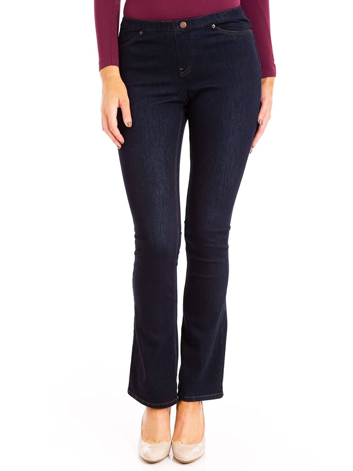e88b8b6cf66f5 Amazon.com: Hue The Original Jeans Bootcut Legging, Midnight Rinse, Large:  Clothing