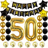50th Birthday Party Decorations Black and Gold 50th Birthday Number Balloons 50th birthday gifts for women men