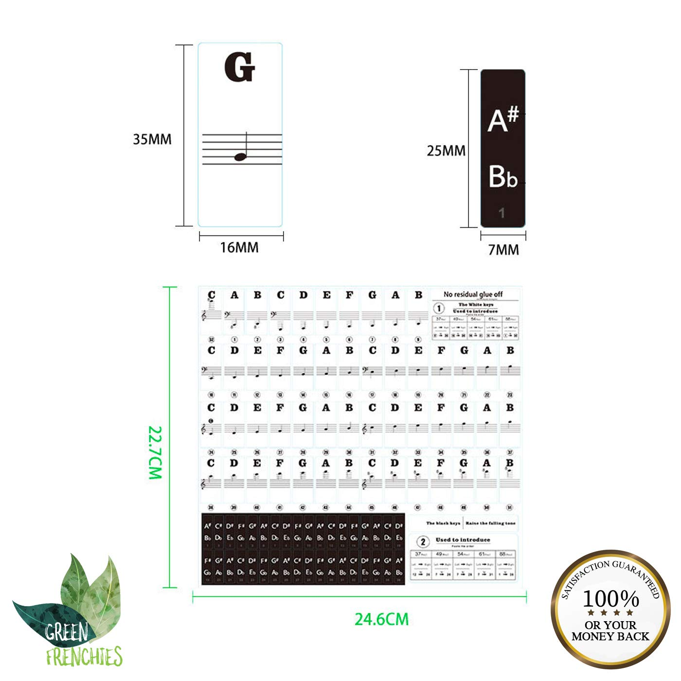Green Frenchies G.F. Piano Keyboard Stickers, Transparent Stickers for White and Black Keys, Removable Stickers for 37, 49, 54, 61, and 88 Keys with Instructions by Green Frenchies (Image #5)