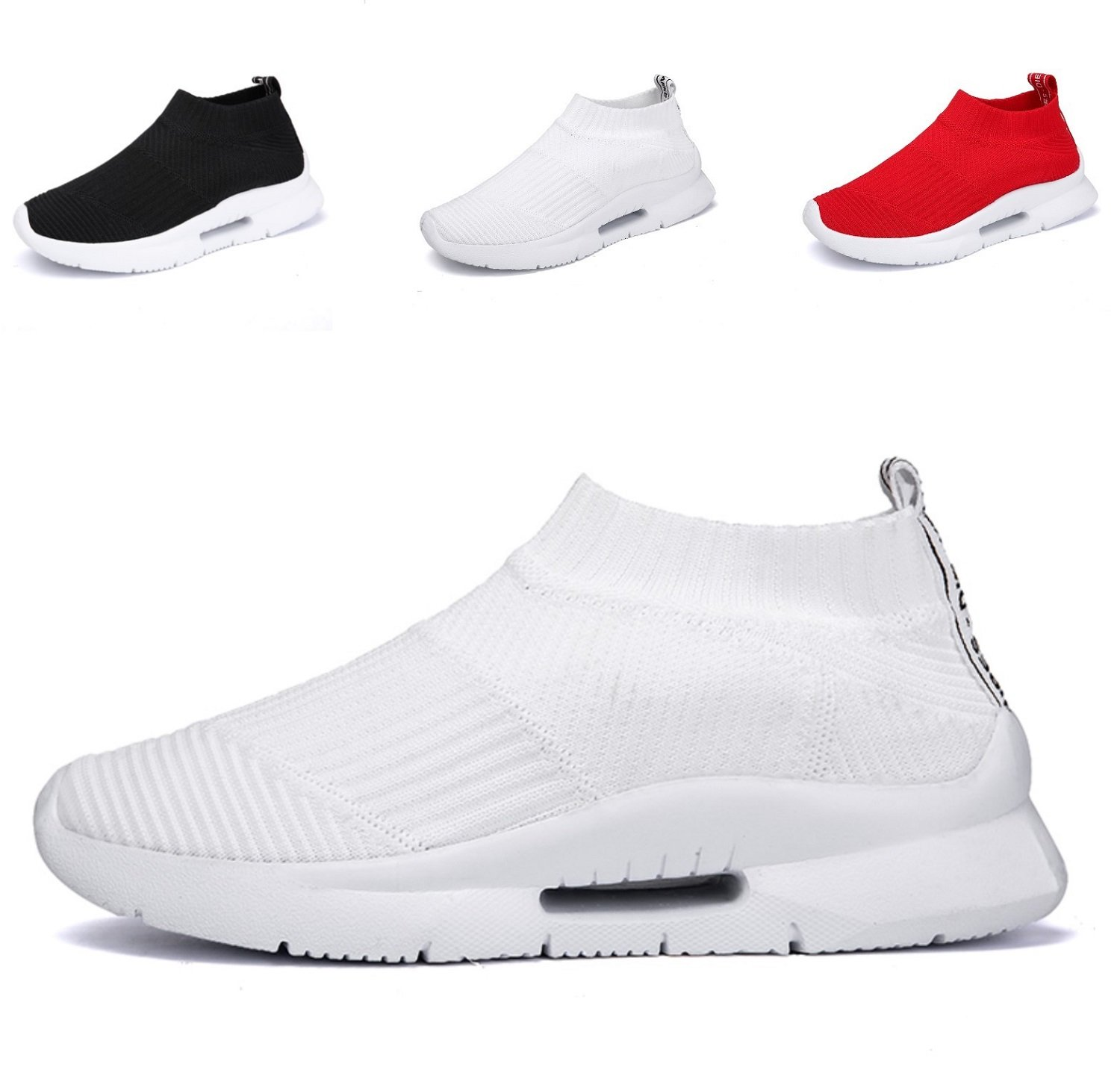 TQGOLD Kids Breathable Knit Casual Sneaker Cute Athletic Slip-On Walking Running Shoes Boys/Girls Cushion(Size 36, White)