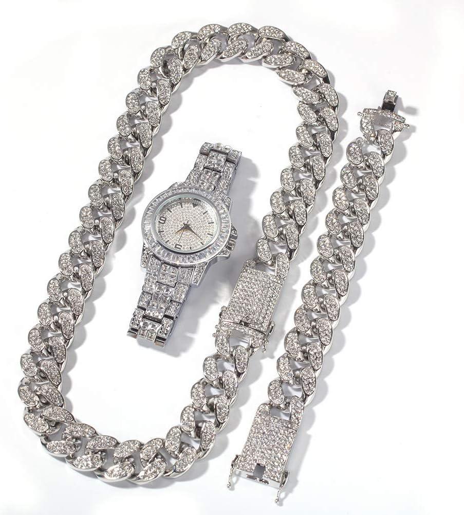 Reloj de Diamantes Completo de Gama Alta de Hip Hop, Pulsera chapada en Oro, Pulsera, Reloj, joyería, Hombres y Mujeres, Conjunto de Regalo de Tres Piezas, Regalo (Oro, Plata).