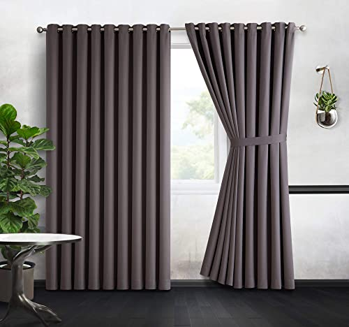 DecoSource – 2 Wall-to-Wall Blackout Grommet Curtains Panels – 120 Inch Long with Tiebacks – Total Size 216 Inch Wide 108 Each Panel – Solid Thermal Insulated 108 x 120 , Charcoal