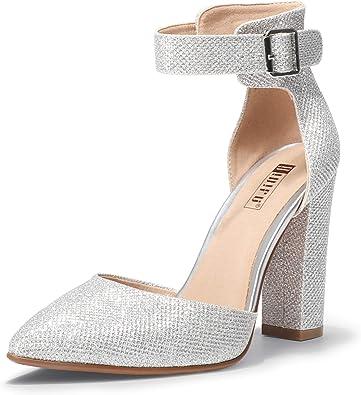 IDIFU Womens Stylish High Chunky Heeled Pointed Toe Slip On Wedding Pumps