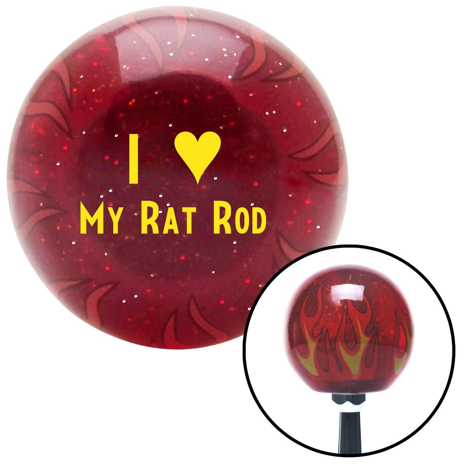 Yellow I 3 My Rat Rod American Shifter 237431 Red Flame Metal Flake Shift Knob with M16 x 1.5 Insert