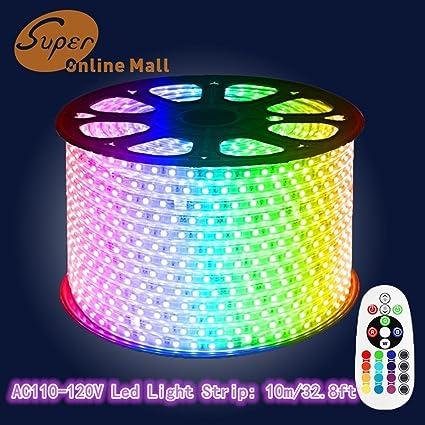 Amazon superonlinemall ac 110 120v flexible rgb led strip superonlinemall ac 110 120v flexible rgb led strip lights 60 ledsm aloadofball Image collections