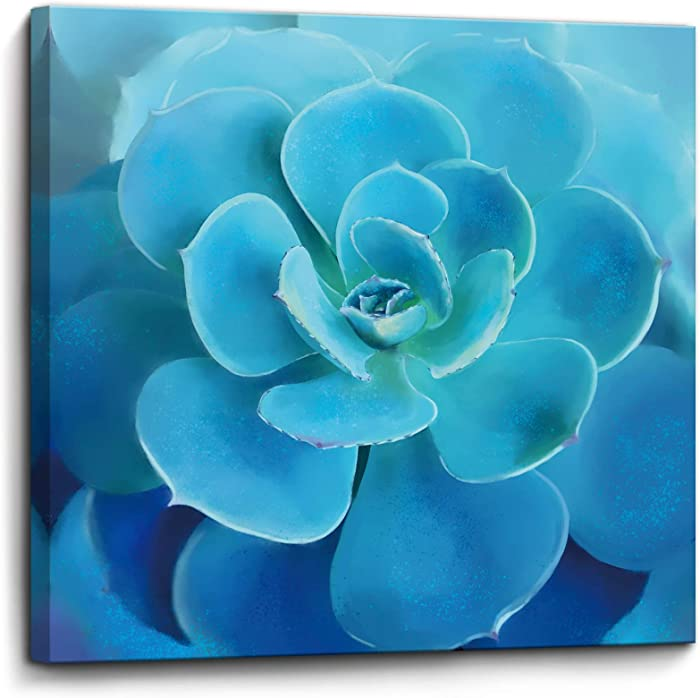 Bathroom Decor Wall Art Framed Canvas Artwork Blue Flower Picture Print Succulents Bedroom Wall Decor Modern Room Plant Decorations Wall Decor for Kitchen Office Size 14x14 inch Ready to Hang