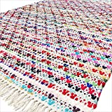Eyes of India 4 X 6 ft Colorful Chindi Decorative Woven Rag Multicolor White Rug Bohemian Boho Indian For Sale