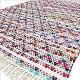 Eyes of India - 5 X 7 ft Colorful Chindi Woven Rag Area Multicolor White Rug Bohemian Boho Decorative Indian