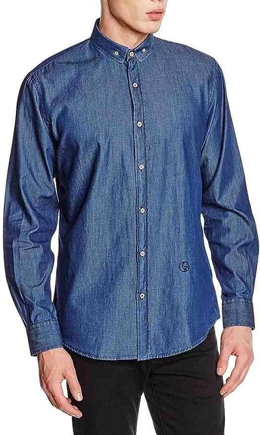 ELGANSO Camisa Cuello Pequeño Redondo DeniLunar Celeste, 38 para Hombre: Amazon.es: Ropa y accesorios