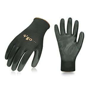Vgo 15Pairs PU Coated Gardening and Work Gloves (Size L,Black,PU2103)