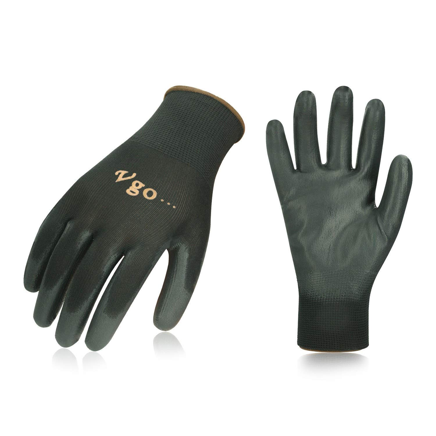 Vgo… PU Coated Gardening and Work Gloves (15 Pairs, Black Color, Size 9/L and 10/XL)