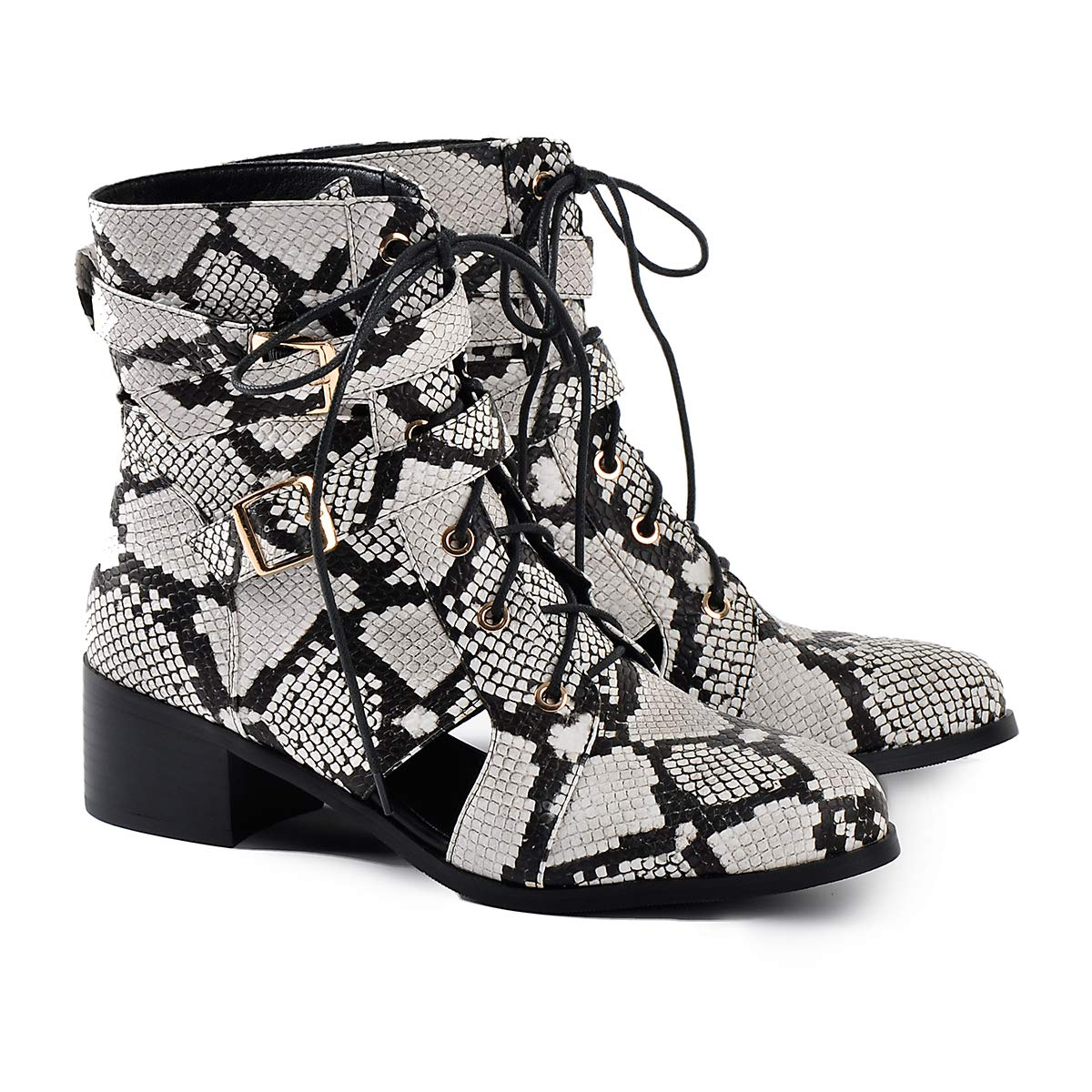 Onlymaker Frauen Snake Print Stiefel Ankle B Stiefel 2 Schnallen Schnürung Schnür Stiefel Bestickt Snake B Ankle adc191