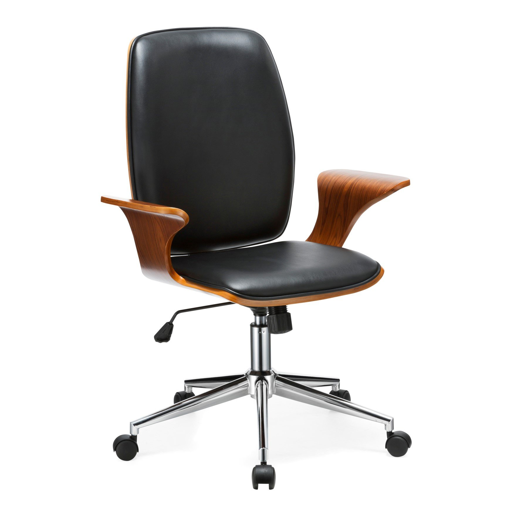 Porthos Home TFC001A BLK Lennon Comfortable, Stylish with Armrests, Height Adjustable, Ergonomic, Executive Wheels Retro Style Modern Office Chair Size 24 x 27 x 40, Black by Porthos Home