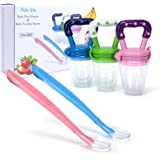 Ado Glo Baby Food Feeder - 3-Pack Fresh Fruit Feeder, Infant Teething Toy Silicone Nibbler with 2 Pack Baby Feeding Spoons