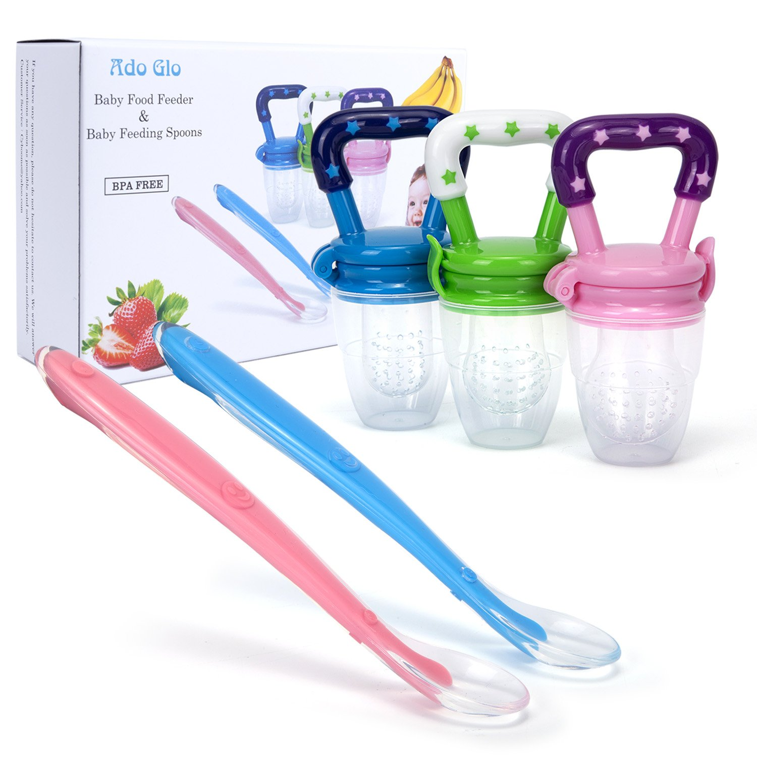 Ado Glo Baby Food Feeder - 3-Pack Fresh Fruit Feeder, Infant Teething Toy Silicone Feeder with 2 Pack Baby Feeding Spoons (Multicolored) YZHB0080008008088