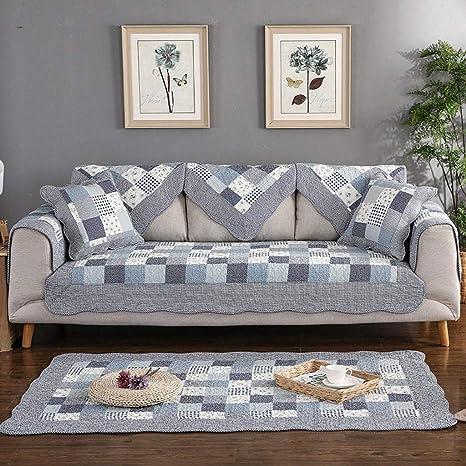 Giow Funda de sofá de algodón Tela Antideslizante Protector ...