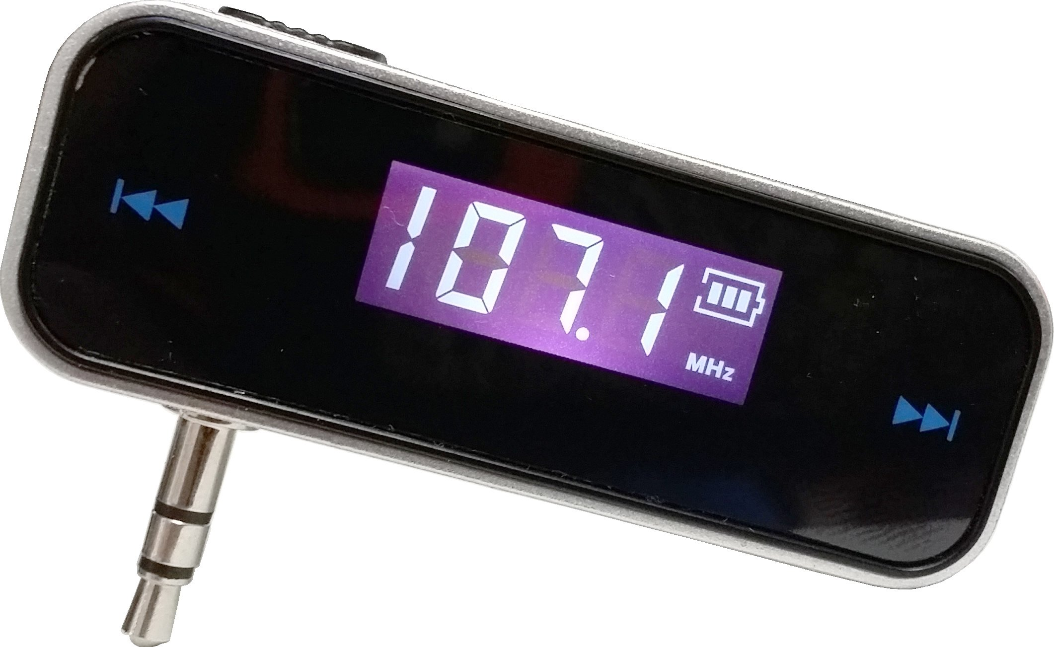 FM Transmitter (Rechargeable) - Fits all IPhones, Androids, MP3 Players, and devices with headphone jacks