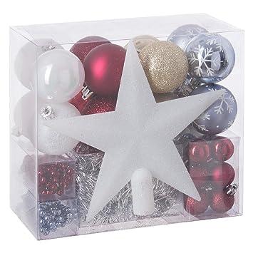 Weihnachtsdeko In Silber Und Weiß.44 Teiliges Weihnachtsdeko Set Für Den Tannenbaum Weiß Rot Silber Hellblau Und Gold Girlanden Kugeln Und Sternbaumspitze