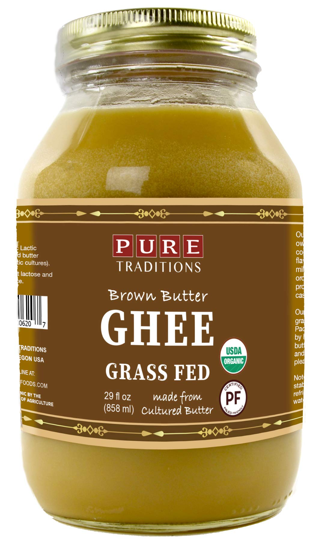 Organic Paleo Cultured Brown Butter Ghee, Grass Fed, Casein and Lactose Free (29 oz) by Pure Traditions (Image #1)