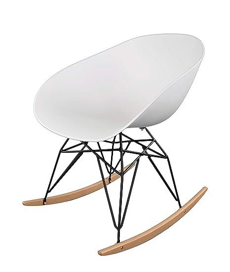 Ibh Design Fauteuil Bondi Blanc Rocking Chair Scandinave