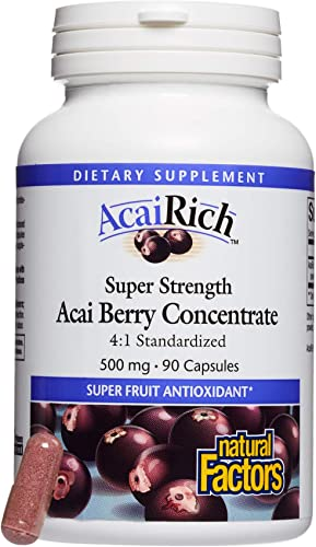 AcaiRich by Natural Factors, Super Strength Acai Berry Concentrate, Superfruit Antioxidant Supplement, 90 capsules 90 servings