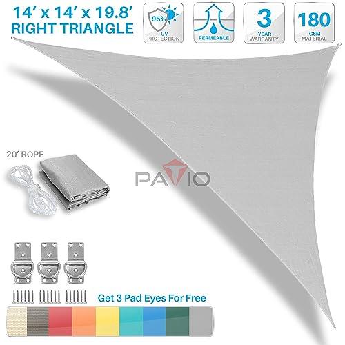 PATIO Paradise 14 x 14 x 19.8 Light Grey Sun Shade Sail Right Triangle Canopy, Permeable UV Block Fabric Durable Outdoor, Customized Available