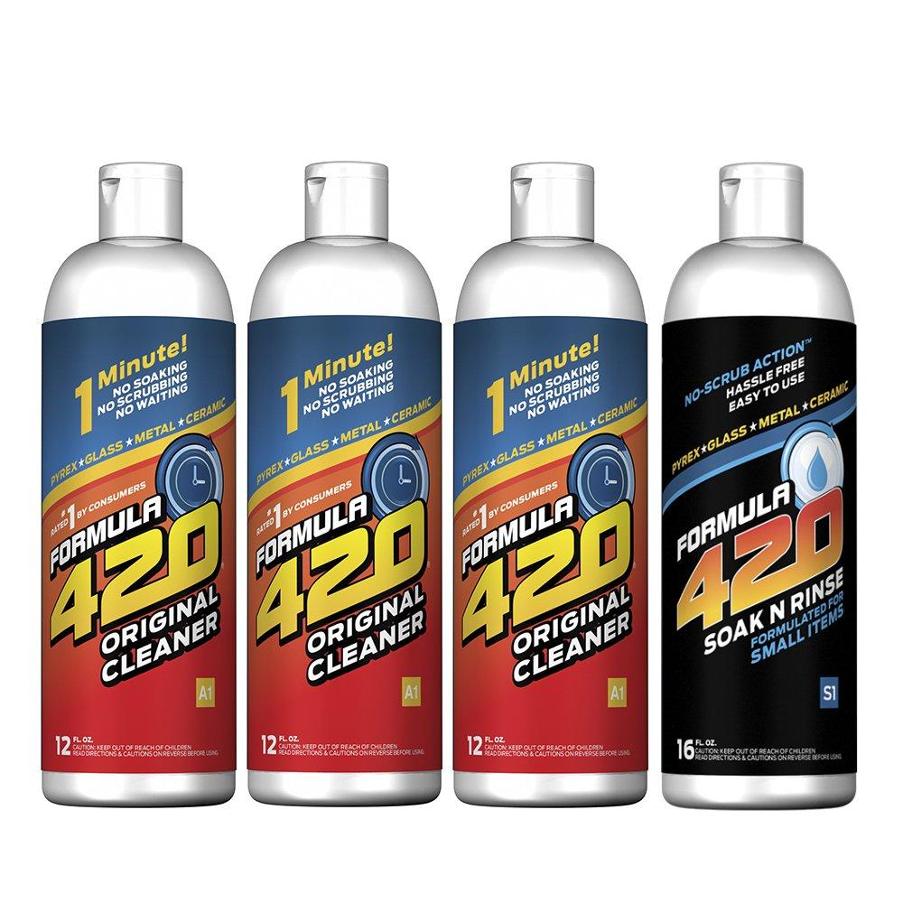 Formula 420 Perfect Pair : Glass Metal Ceramic Pipe Cleaner 12 Oz. 3 Pack & 1 Bottle Soak-N-Rinse 16oz (4 bottles total)
