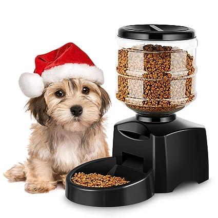 Amzdeal Comedero Automático Gatos y Perros 5.5L, Alimentador de Mascotas con Pantalla LCD,