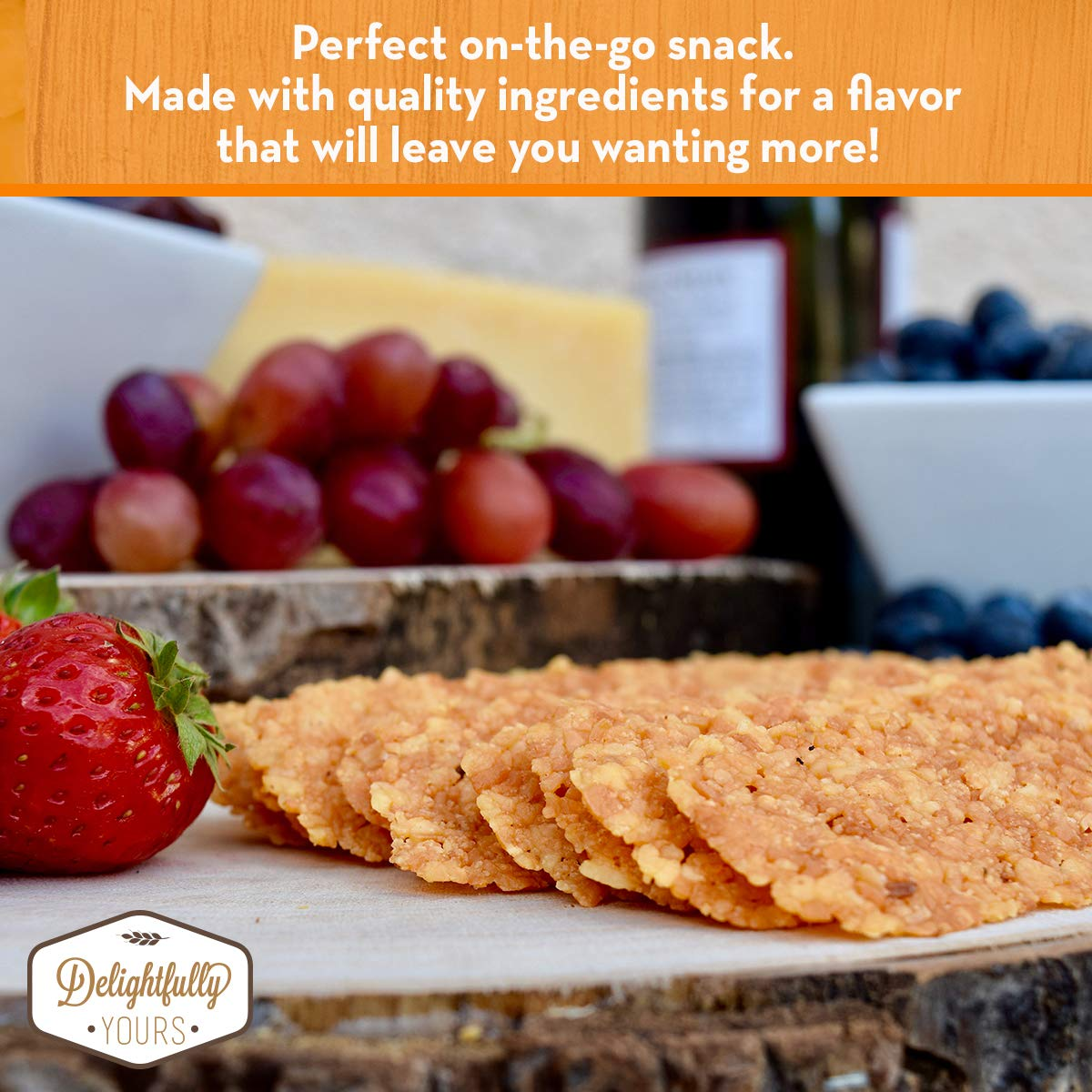 Delightfully Yours: Low Carb Parmesan Cheese Crisps {ORIGINAL Flavor} 100% aged - Flavorful Handmade - Keto Friendly Snack - All Natural - Wheat Free - Gluten Free - Protein Packed 12 OZ (4 PACK) by Delightfully Yours (Image #5)