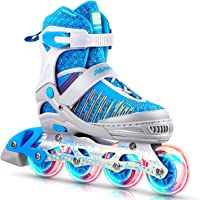 PAPAISON Fly Knitting Upper Adjustable Illuminating Inline Skates for Boys and Girls with Full Light up Wheels, Beginner Rollerblades for Kids Youth