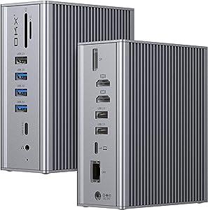 Docking Station, USB C Docking Station, OKX 4K Triple Display Laptop Docking Station for Mac OS&Windows (7 USB Ports, 4K@60Hz DP Dual 4K HDMI Gigabit Ethernet 3.5mm Audio&Mic SD&TF Card Reader 60W PD)