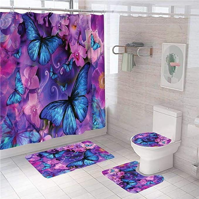 Details about  /Blue Butterfly Boho Feminine Cute Farmhouse Floral Fabric Shower Curtain