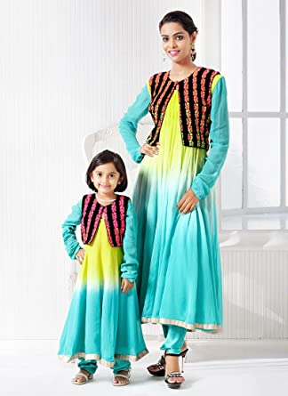 9a4ee4e809 Ideal Georgette Mother Daughter Anarkali Combo: Amazon.in: Clothing &  Accessories