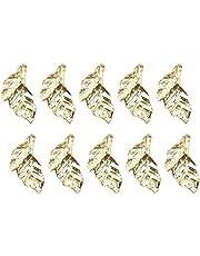 Kentop 10pcs Brillantes Botones Adornados en Varias Formas de Hojas de Color de Oro Accesorios de